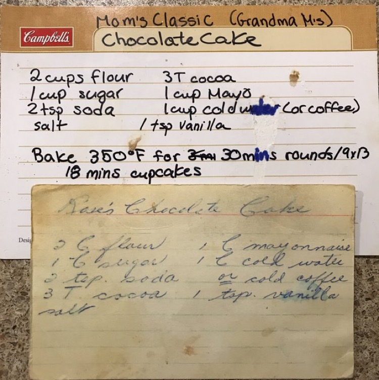 The original recipe for my grandma Myrtle's cake and my recipe from my mom.