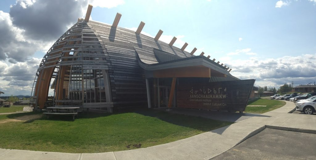 Wooden building shaped like a longhouse