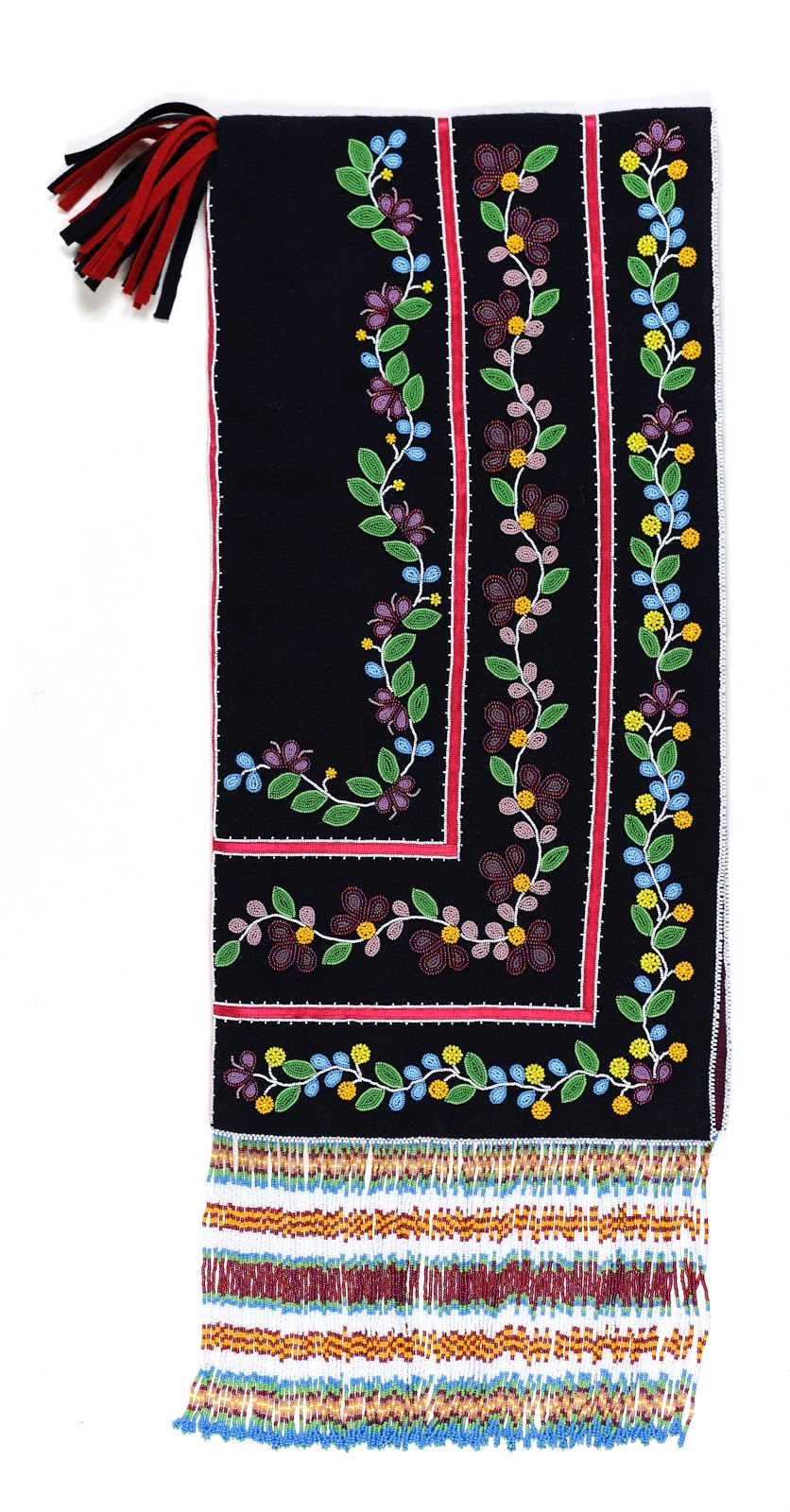 Black beaded fabric with floral design