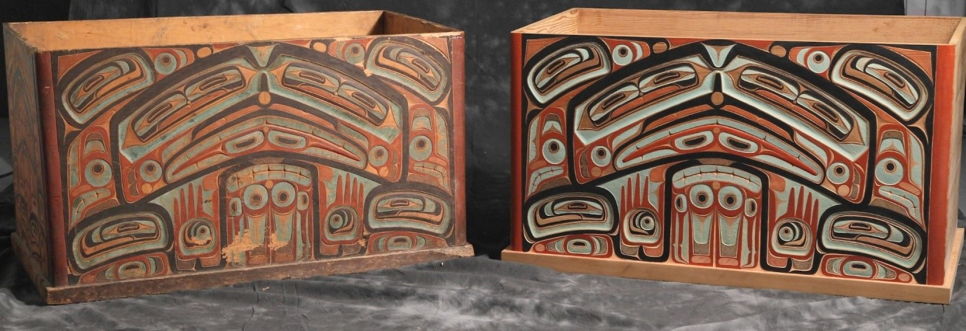 Two carved boxes