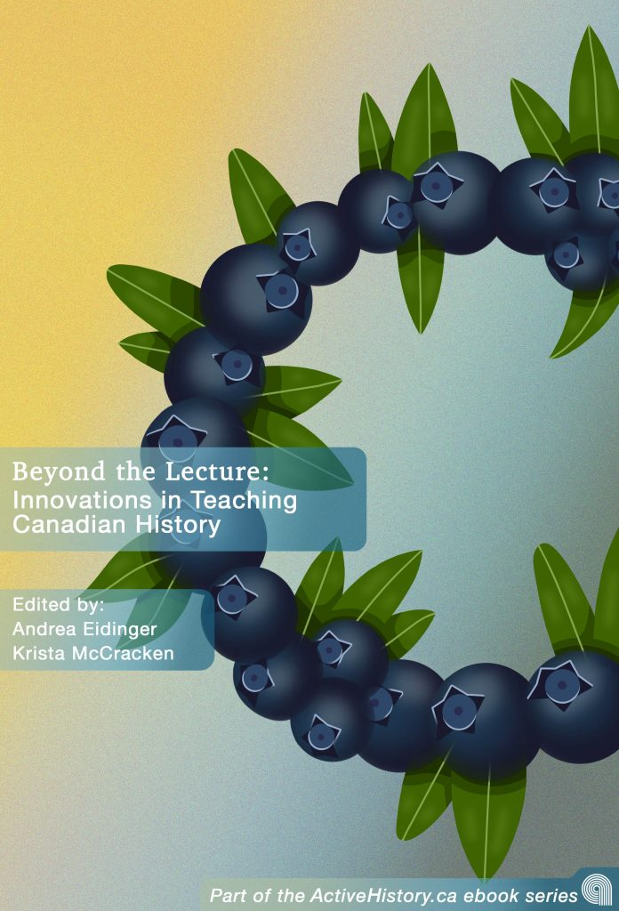 Cover of Beyond the Lecture ebook, circle of blueberries on blue and yellow background