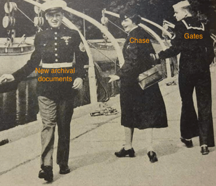 "World War II era photo of a woman labelled Chase looking at a man labeled ""New Archival Documents"", while the man beside her, labelled Gates, tried to keep her attention. This photo reflects a well-known meme photo that appeared on Twitter and elsewhere, of a young man looking at another woman, to the consternation of the woman he is with."