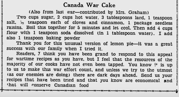 Copy of recipe from newspaper