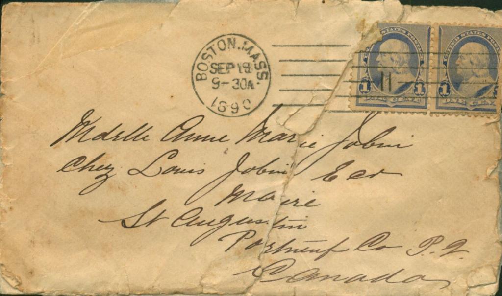 An envelope with an 1890 postmark and hand written address