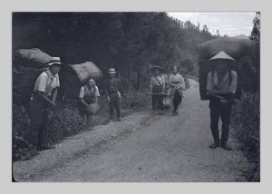 Six people standing on a road and in a ditch carrying cocoons