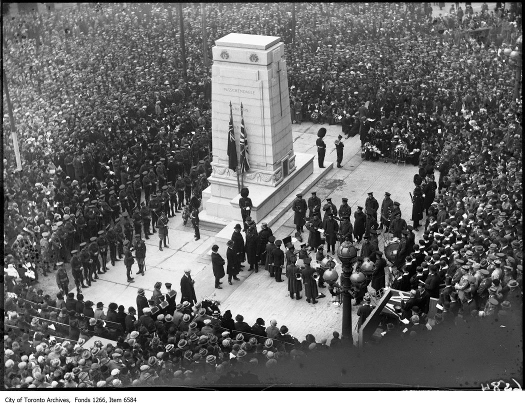 Cenotaph with large group of people