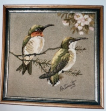 Hook rug of two birds