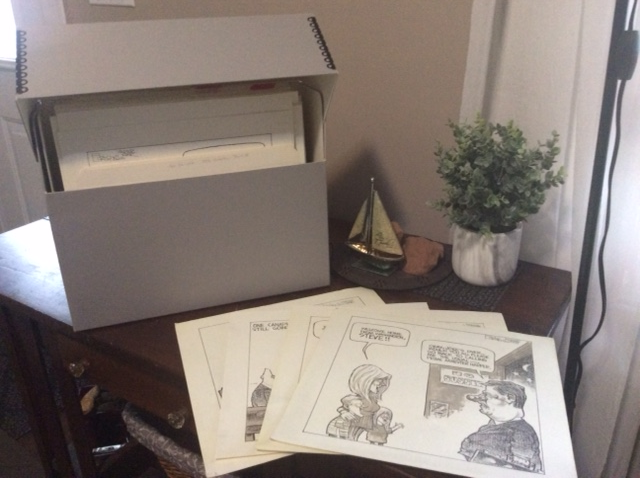Archival box with sketches in front