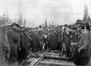 Donald Smith, one of the directors of the CPR, drives home the last spike at Craigellachie, BC, on November 7, 1885.