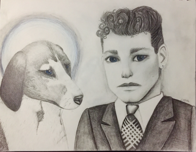 sketch of a dog and a person in a suit and tie