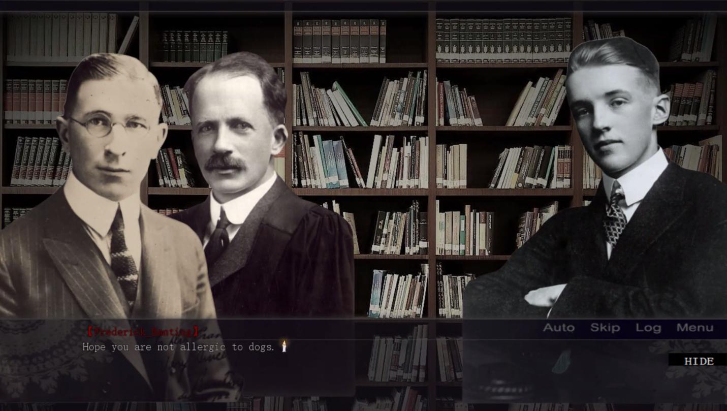 three men against a bookshelf