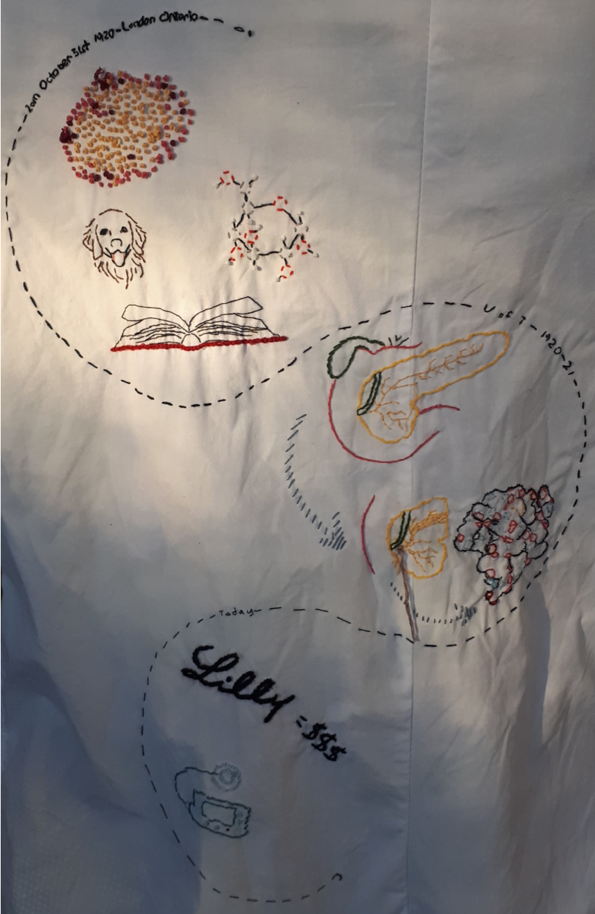 hand embroidered lab coat