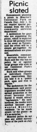 newspaper clipping about picnic scheduling