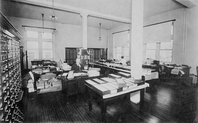 An office in the Dominion Archives of Canada, Sussex Street, Ottawa, Ontario