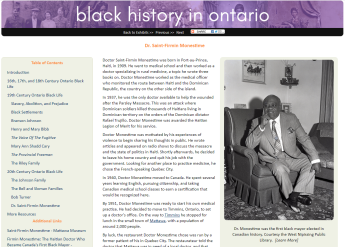 Screenshot of black history exhibit